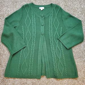 Super Soft Darker Green Cardigan Sweater
